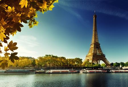 water tower: Seine in Paris with Eiffel tower in autumn season