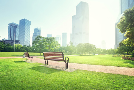 bench in park, Shanghai, China photo