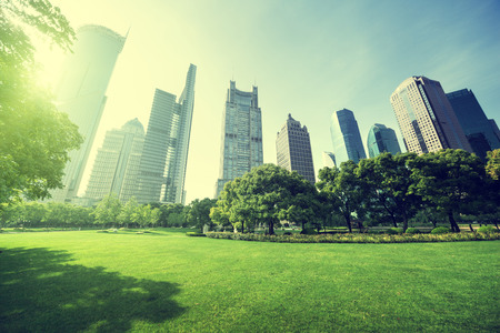 park in  lujiazui financial center, Shanghai, China photo