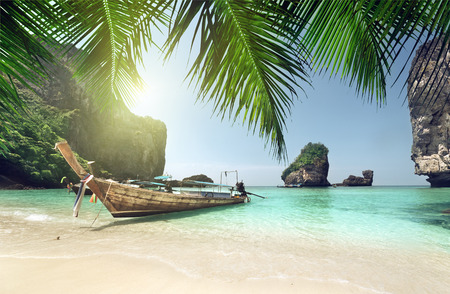 thailand: boat at Phi Phi island, Thailand Stock Photo