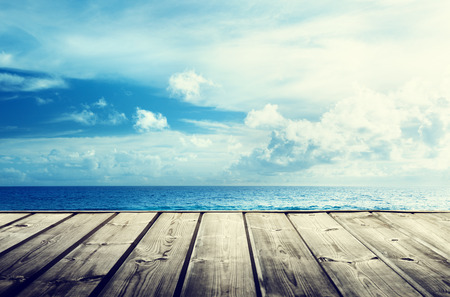 tropical beach and wooden platform photo