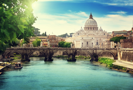 iconic: view on Tiber and St Peter Basilica in Vatican Stock Photo