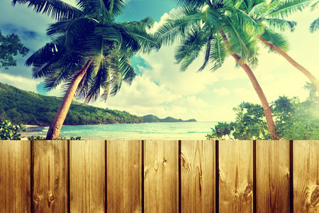 fence panel: fence on the beach Stock Photo