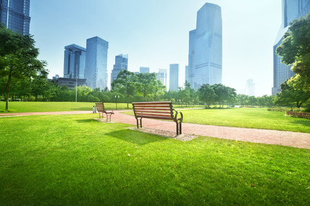 city park skyline: bench in park, Shanghai, China