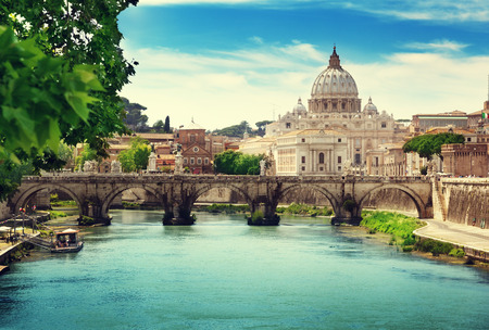 peter: view on Tiber and St Peter Basilica in Vatican Stock Photo