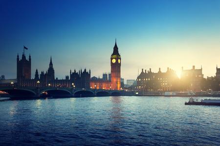 Big Ben and Westminster at sunset, London, UK  photo