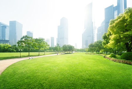 city park skyline: park in  lujiazui financial centre, Shanghai, China Stock Photo