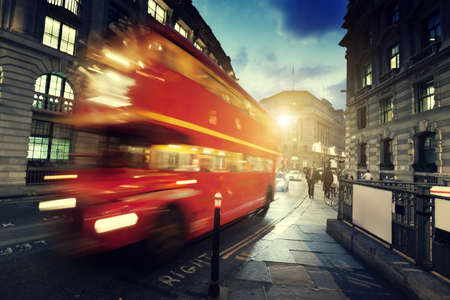 city scape: old bus on street of London