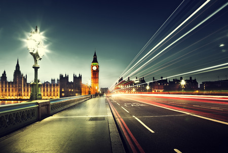 london street: Big Ben from Westminster Bridge, London