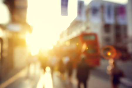 people in bokeh, street of London photo