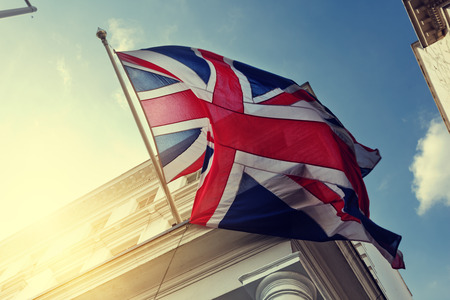 union jack: flag of UK on government building