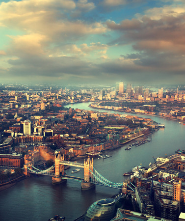 skyline city: London aerial view with  Tower Bridge in sunset time