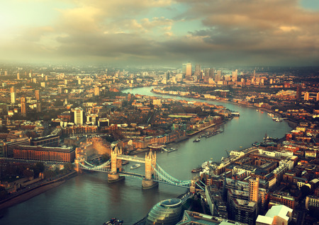 London aerial view with  Tower Bridge in sunset time Reklamní fotografie - 32746891