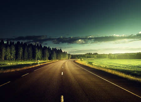 street view: Asphalt road in forest Stock Photo
