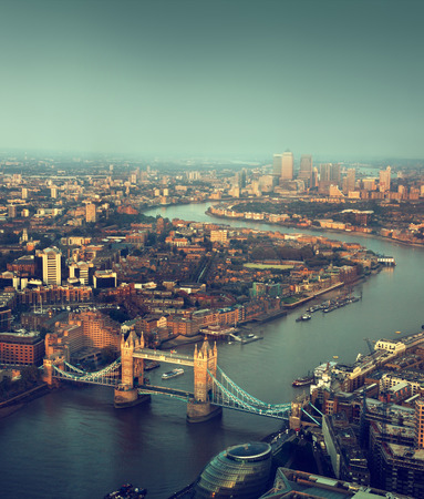london bridge: London aerial view with  Tower Bridge in sunset time