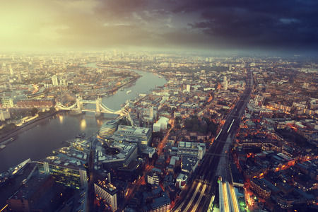 london night: London aerial view with  Tower Bridge in sunset time