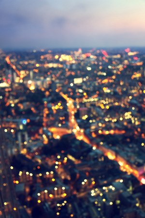 night view: bokeh (out of focus) night London, view from shard, UK