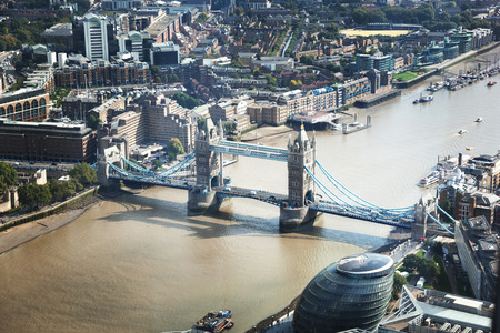 thames: London aerial view with Tower Bridge, UK