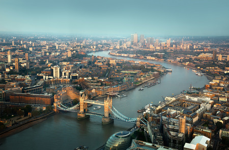 london skyline: London aerial view with  Tower Bridge in sunset time