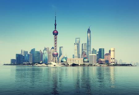 中国上海スカイライン 写真素材