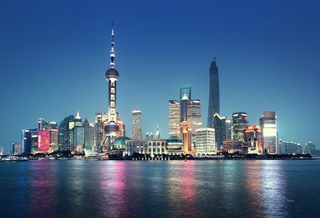 pudong district: Shanghai at night, China