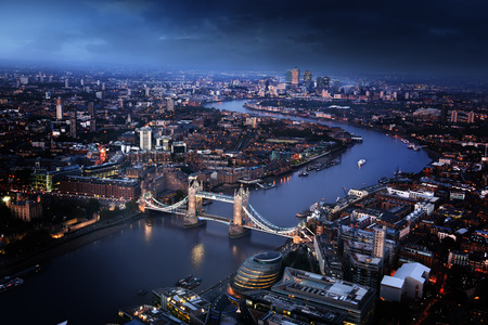 uk: London aerial view with Tower Bridge, UK