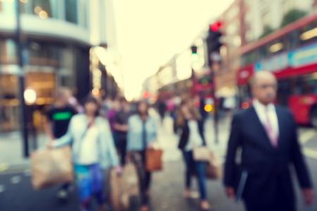 abstract london: people in bokeh, street of London