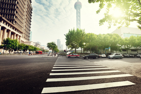 city scene: street  in Shanghai Lujiazui,China Stock Photo