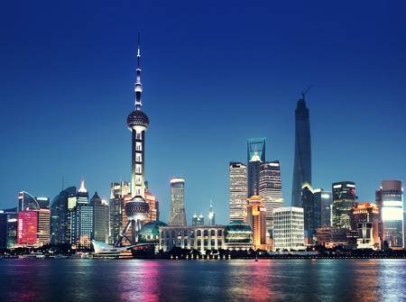 shanghai skyline: Shanghai at night, China