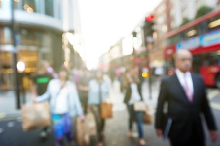 anonymous people: people in bokeh, street of London