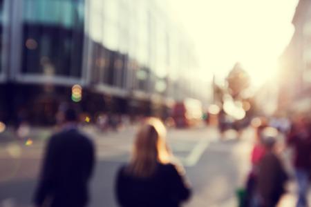 busy street: people in bokeh, street of London