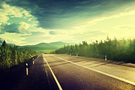 ロシア山の道 写真素材