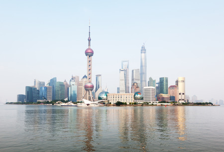 shanghai pudong skyline: Shanghai skyline, China Stock Photo