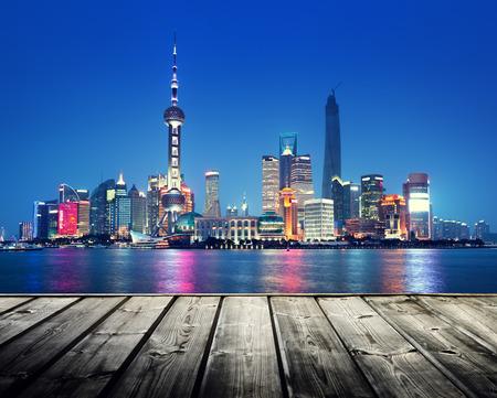 impressive: Shanghai skyline and wooden platform Stock Photo