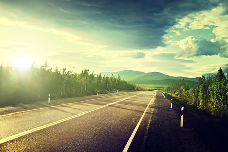 green road: road in Russian mountains