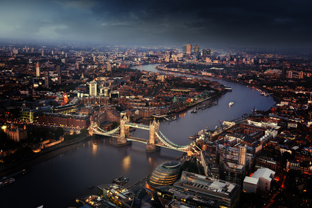 night skyline: London aerial view with Tower Bridge, UK