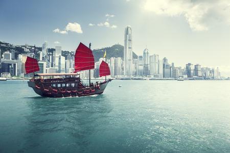 wooden boat: Hong Kong harbour Editorial