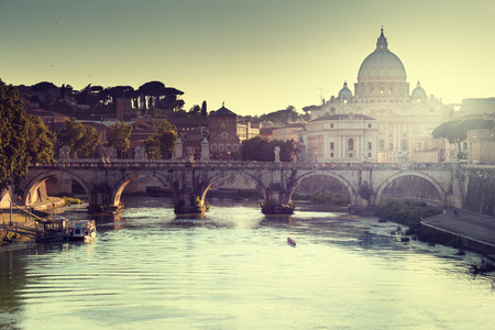 vatican city: view on Tiber and St Peter Basilica in Vatican Editorial
