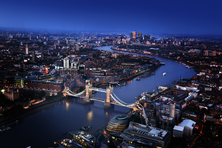 london tower: London aerial view with Tower Bridge, UK