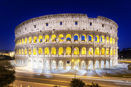 roman empire: The Colosseum at night, Rome, Italy