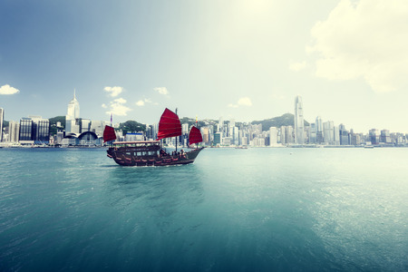 sea port: Hong Kong harbour Stock Photo