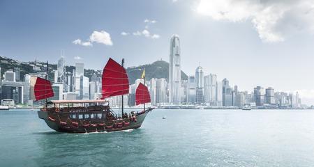 travel transportation: Hong Kong harbour Stock Photo