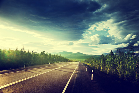 country roads: road in Russian mountains