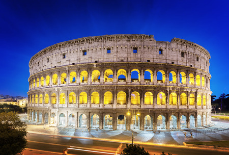 ancient rome: The Colosseum at night, Rome, Italy