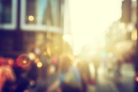 morning sunrise: people in bokeh, street of London