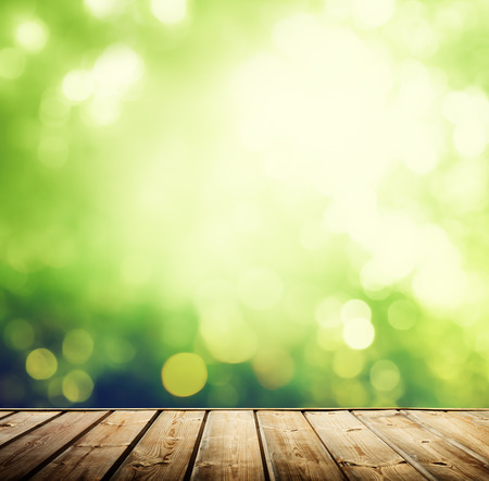 Superficie de madera y el bosque soleado Foto de archivo - 36173307