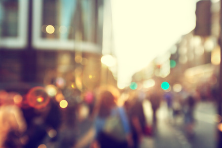 crowd of people: people in bokeh, street of London