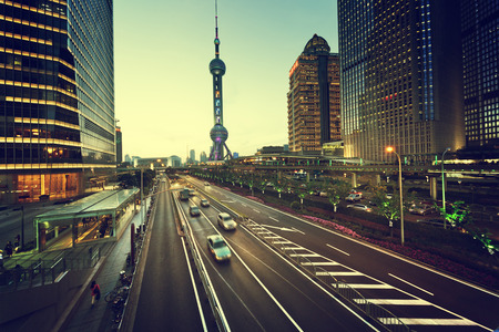 urban transport: road in sunset time, Shanghai lujiazui financial center Editorial