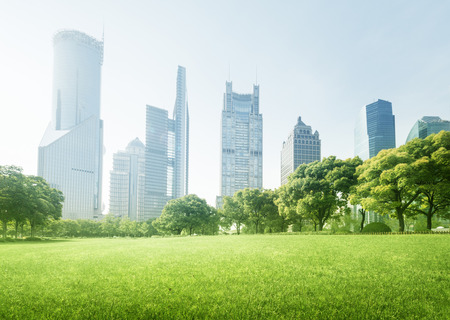 clouds: garden: park in  lujiazui financial centre, Shanghai, China Stock Photo