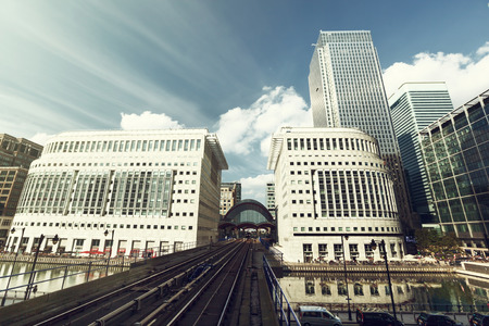 canary island: Canary Wharf docklands station in London, UK Stock Photo